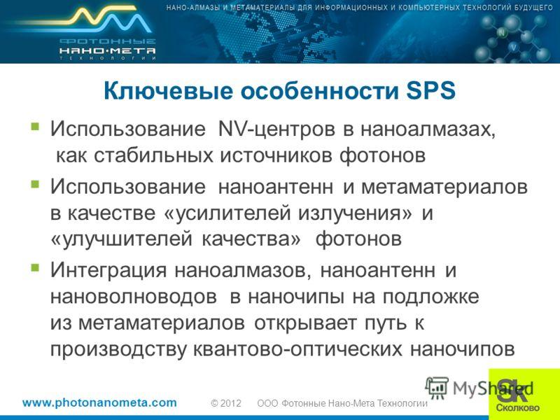 www.photonanometa.com © 2012 OOO Фотонные Нано-Мета Технологии Ключевые особенности SPS Использование NV-центров в наноалмазах, как стабильных источников фотонов Использование наноантенн и метаматериалов в качестве «усилителей излучения» и «улучшител