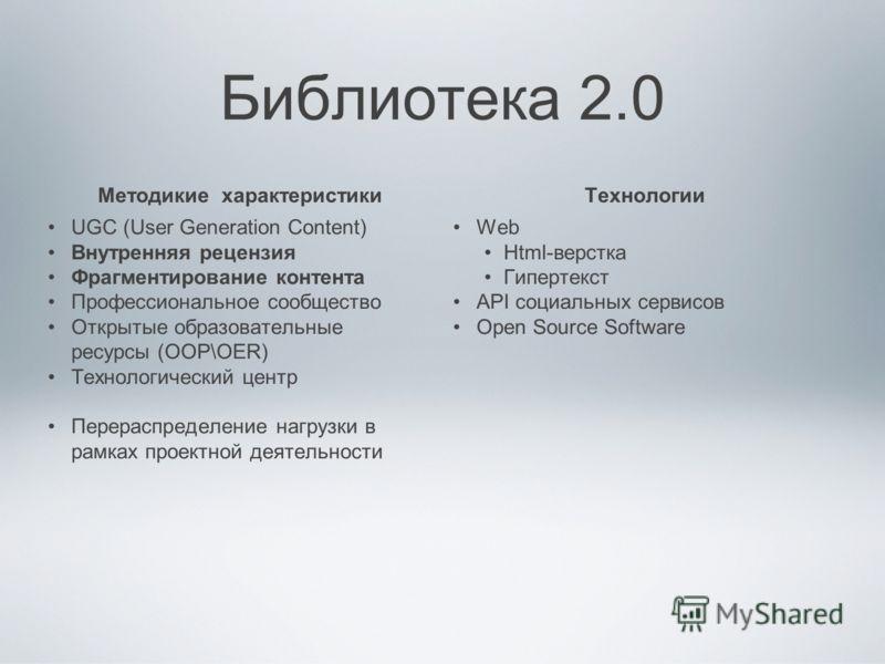 Библиотека 2.0 Методикие характеристики UGC (User Generation Content) Внутренняя рецензия Фрагментирование контента Профессиональное сообщество Открытые образовательные ресурсы (ООР\OER) Технологический центр Перераспределение нагрузки в рамках проек