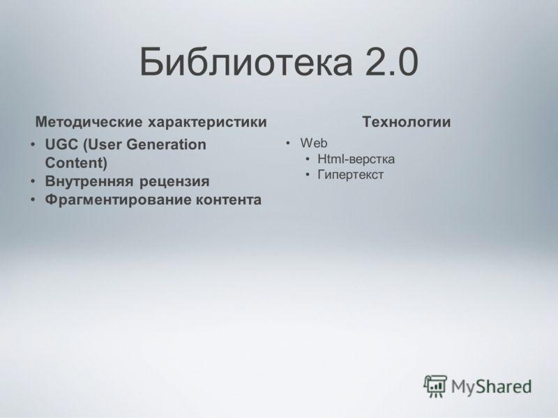 Библиотека 2.0 Методические характеристики UGC (User Generation Content) Внутренняя рецензия Фрагментирование контента Технологии Web Html-верстка Гипертекст