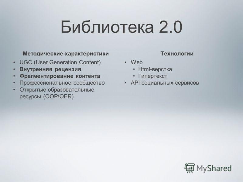 Библиотека 2.0 Методические характеристики UGC (User Generation Content) Внутренняя рецензия Фрагментирование контента Профессиональное сообщество Открытые образовательные ресурсы (ООР\OER) Технологии Web Html-верстка Гипертекст API социальных сервис