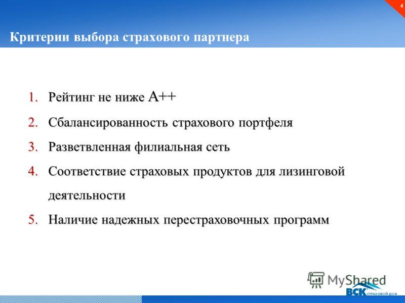 Критерии выбора страхового партнера 4 1.Рейтинг не ниже А++ 2.Сбалансированность страхового портфеля 3.Разветвленная филиальная сеть 4.Соответствие страховых продуктов для лизинговой деятельности 5.Наличие надежных перестраховочных программ