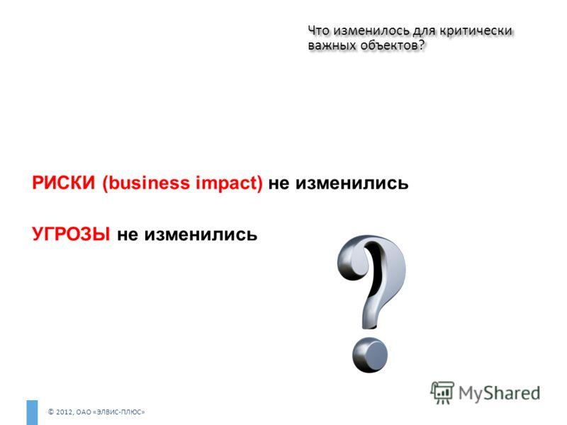 © 2012, ОАО «ЭЛВИС-ПЛЮС» РИСКИ (business impact) не изменились УГРОЗЫ не изменились Что изменилось для критически важных объектов?