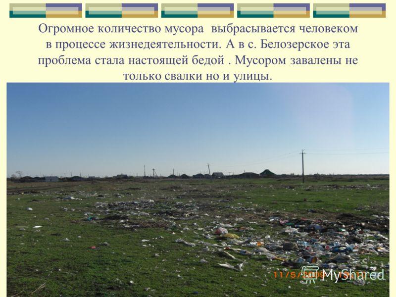 Огромное количество мусора выбрасывается человеком в процессе жизнедеятельности. А в с. Белозерское эта проблема стала настоящей бедой. Мусором завалены не только свалки но и улицы.