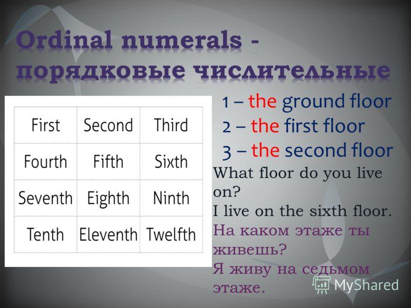 What floor do you live on? I live on the sixth floor. На каком этаже ты живешь? Я живу на седьмом этаже. 1 – the ground floor 2 – the first floor 3 – the second floor