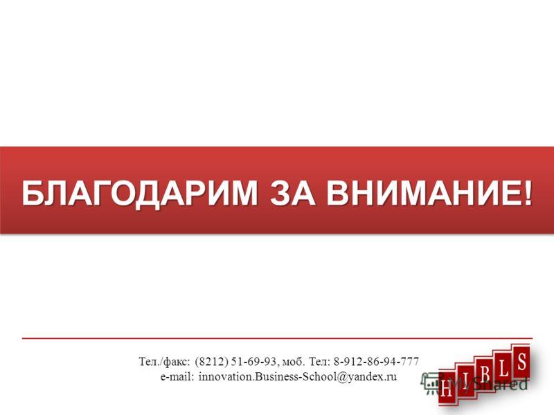 БЛАГОДАРИМ ЗА ВНИМАНИЕ! Тел./факс: (8212) 51-69-93, моб. Тел: 8-912-86-94-777 e-mail: innovation.Business-School@yandex.ru