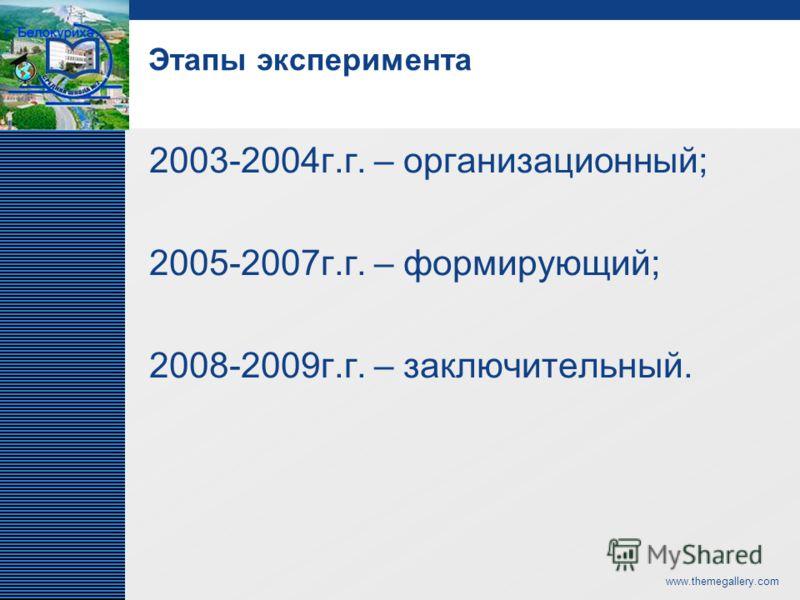 LOGO www.themegallery.com Этапы эксперимента 2003-2004г.г. – организационный; 2005-2007г.г. – формирующий; 2008-2009г.г. – заключительный.
