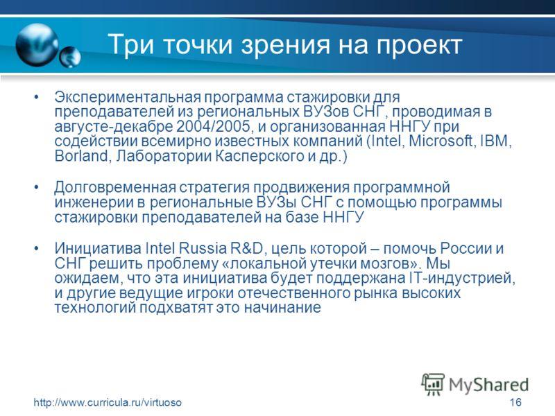 http://www.curricula.ru/virtuoso16 Три точки зрения на проект Экспериментальная программа стажировки для преподавателей из региональных ВУЗов СНГ, проводимая в августе-декабре 2004/2005, и организованная ННГУ при содействии всемирно известных компани