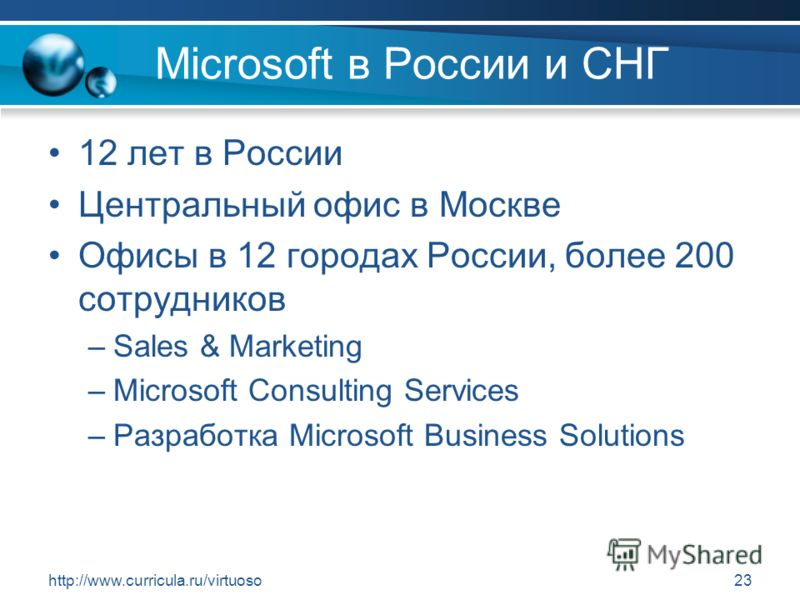 http://www.curricula.ru/virtuoso23 Microsoft в России и СНГ 12 лет в России Центральный офис в Москве Офисы в 12 городах России, более 200 сотрудников –Sales & Marketing –Microsoft Consulting Services –Разработка Microsoft Business Solutions