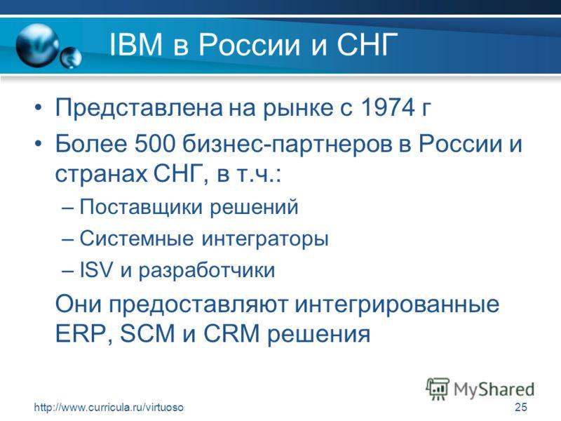 http://www.curricula.ru/virtuoso25 IBM в России и СНГ Представлена на рынке с 1974 г Более 500 бизнес-партнеров в России и странах СНГ, в т.ч.: –Поставщики решений –Системные интеграторы –ISV и разработчики Они предоставляют интегрированные ERP, SCM