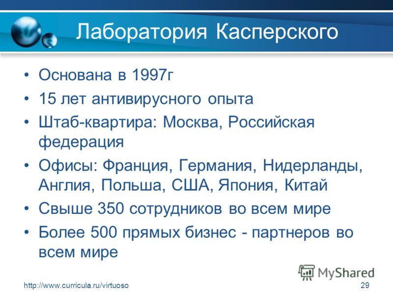 http://www.curricula.ru/virtuoso29 Лаборатория Касперского Основана в 1997г 15 лет антивирусного опыта Штаб-квартира: Москва, Российская федерация Офисы: Франция, Германия, Нидерланды, Англия, Польша, США, Япония, Китай Свыше 350 сотрудников во всем