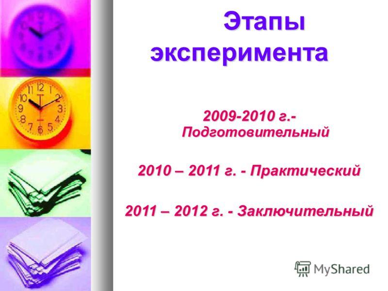 Этапы эксперимента Этапы эксперимента 2009-2010 г.- Подготовительный 2010 – 2011 г. - Практический 2011 – 2012 г. - Заключительный