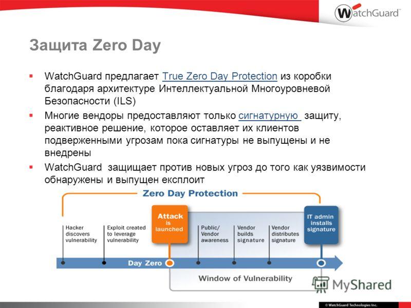 Защита Zero Day WatchGuard предлагает True Zero Day Protection из коробки благодаря архитектуре Интеллектуальной Многоуровневой Безопасности (ILS) Многие вендоры предоставляют только сигнатурную защиту, реактивное решение, которое оставляет их клиент