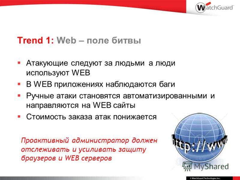 Trend 1: Web – поле битвы Атакующие следуют за людьми а люди используют WEB В WEB приложениях наблюдаются баги Ручные атаки становятся автоматизированными и направляются на WEB сайты Стоимость заказа атак понижается Проактивный администратор должен о