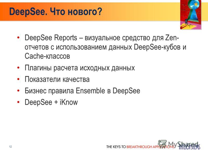 DeepSee. Что нового? 12 DeepSee Reports – визуальное средство для Zen- отчетов с использованием данных DeepSee-кубов и Cache-классов Плагины расчета исходных данных Показатели качества Бизнес правила Ensemble в DeepSee DeepSee + iKnow