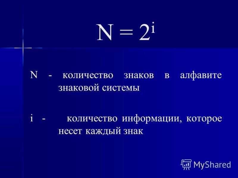 N = 2 i N - количество знаков в алфавите знаковой системы i - количество информации, которое несет каждый знак