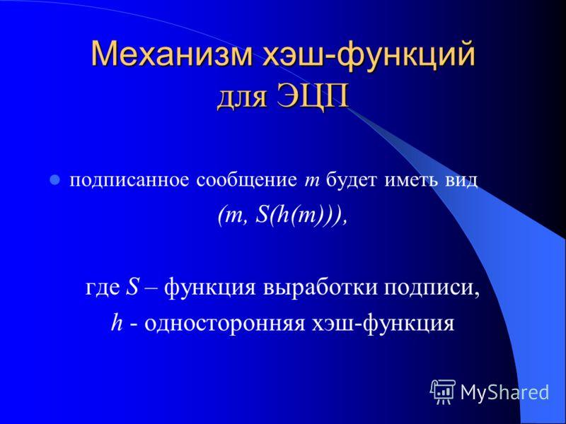 Механизм хэш-функций для ЭЦП подписанное сообщение m будет иметь вид (m, S(h(m))), где S – функция выработки подписи, h - односторонняя хэш-функция