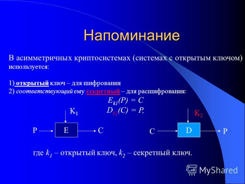 Напоминание В асимметричных криптосистемах (системах с открытым ключом) используется: 1) открытый ключ – для шифрования 2) соответствующий ему секретный – для расшифрования: E k1 (P) = C D k2 (C) = P, где k 1 – открытый ключ, k 2 – секретный ключ. E