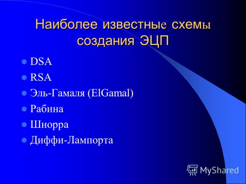 Наиболее известны е схем ы создания ЭЦП DSA RSA Эль-Гамаля (ElGamal) Рабина Шнорра Диффи-Лампорта