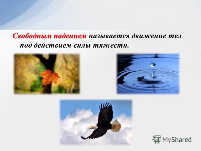 Свободным падением Свободным падением называется движение тел под действием силы тяжести.