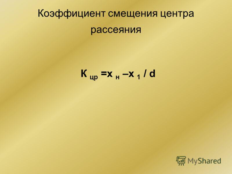 Коэффициент смещения центра рассеяния К цр =х н –х 1 / d