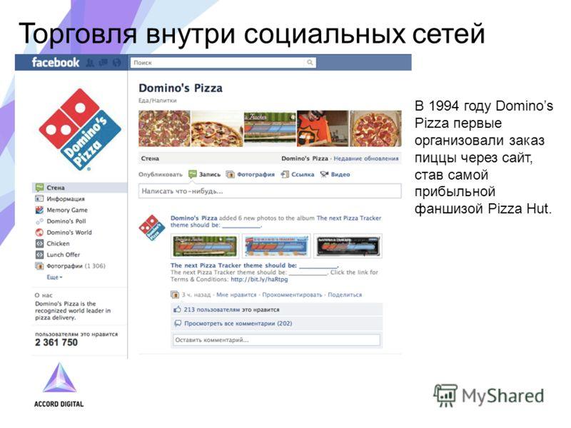 Торговля внутри социальных сетей В 1994 году Dominos Pizza первые организовали заказ пиццы через сайт, став самой прибыльной фаншизой Pizza Hut.