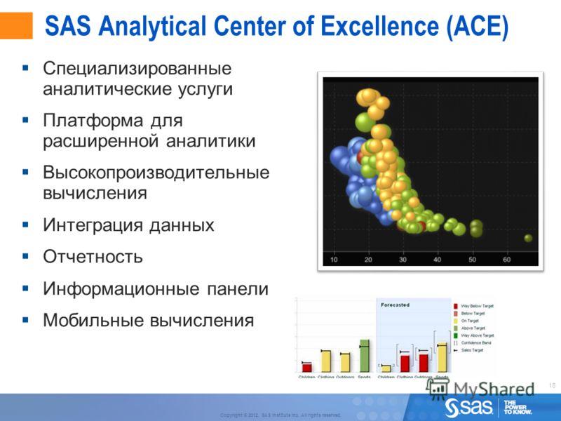 16 Copyright © 2012, SAS Institute Inc. All rights reserved. SAS Analytical Center of Excellence (ACE) Специализированные аналитические услуги Платформа для расширенной аналитики Высокопроизводительные вычисления Интеграция данных Отчетность Информац