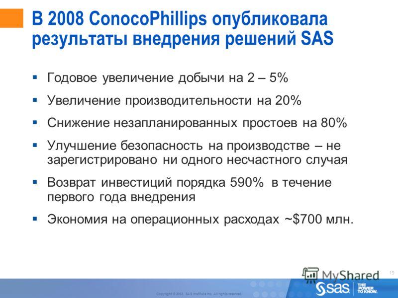 19 Copyright © 2012, SAS Institute Inc. All rights reserved. В 2008 ConocoPhillips опубликовала результаты внедрения решений SAS Годовое увеличение добычи на 2 – 5% Увеличение производительности на 20% Снижение незапланированных простоев на 80% Улучш