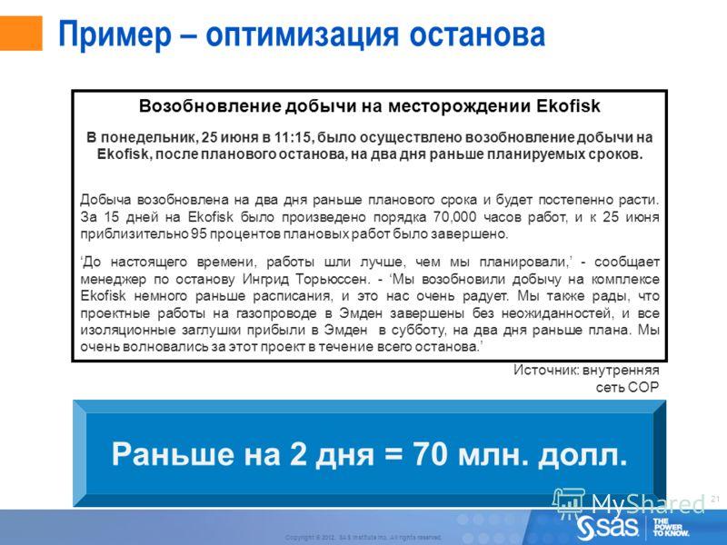 21 Copyright © 2012, SAS Institute Inc. All rights reserved. Возобновление добычи на месторождении Ekofisk В понедельник, 25 июня в 11:15, было осуществлено возобновление добычи на Ekofisk, после планового останова, на два дня раньше планируемых срок