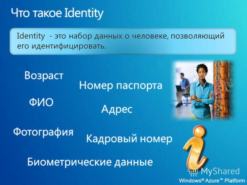 Identity - это набор данных о человеке, позволяющий его идентифицировать.