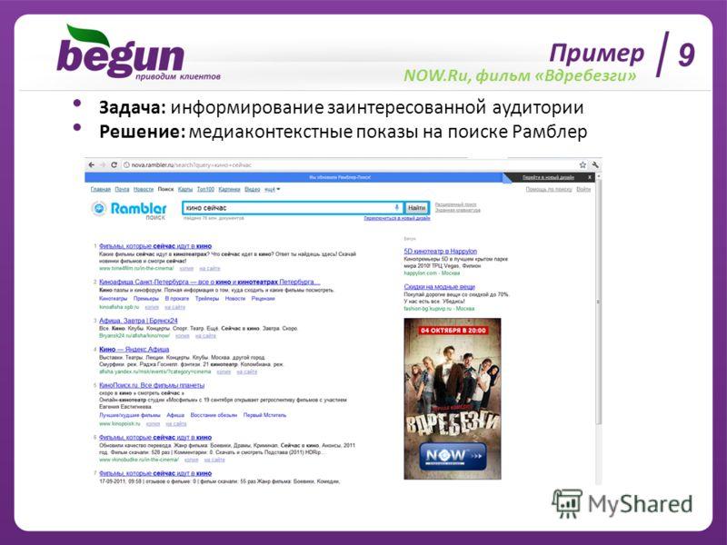 Пример NOW.Ru, фильм «Вдребезги» Задача: информирование заинтересованной аудитории Решение: медиаконтекстные показы на поиске Рамблер 9