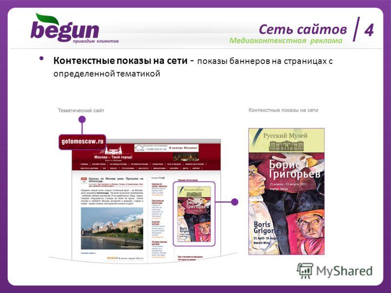 4 Сеть сайтов Медиаконтекстная реклама Контекстные показы на сети - показы баннеров на страницах с определенной тематикой