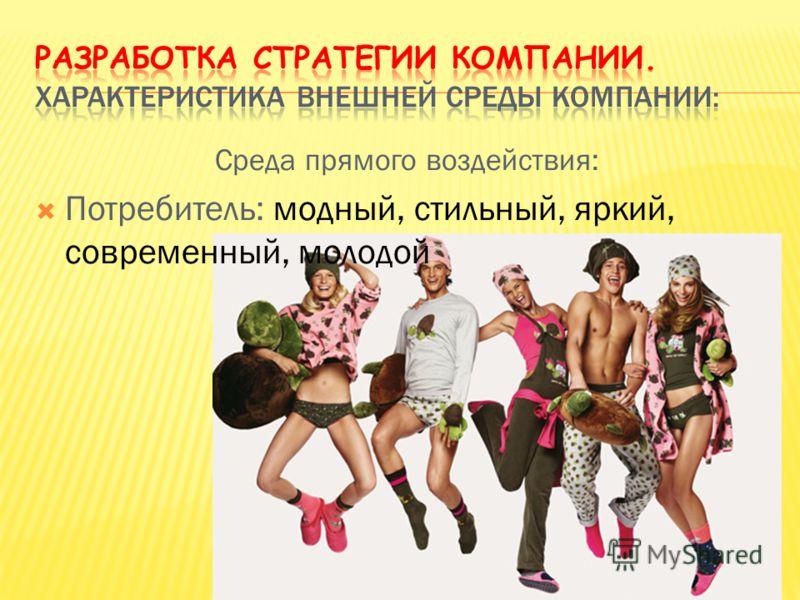 Среда прямого воздействия: Потребитель: модный, стильный, яркий, современный, молодой