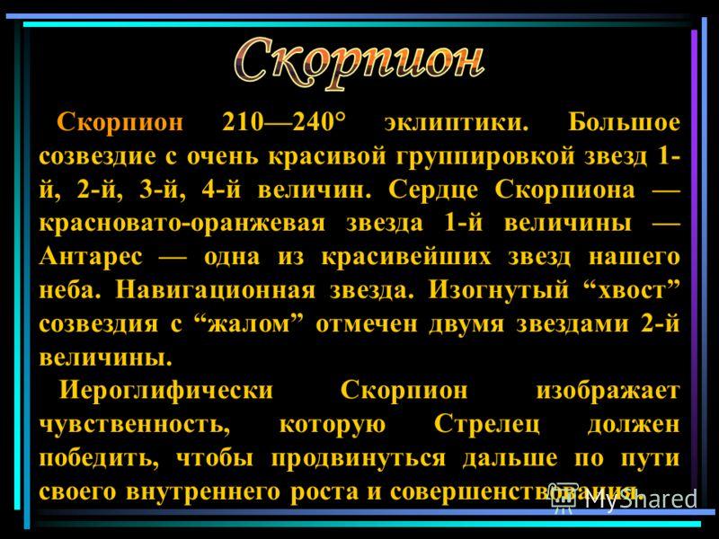 Скорпион 210 240° эклиптики. Большое созвездие с очень красивой группировкой звезд 1- й, 2-й, 3-й, 4-й величин. Сердце Скорпиона красновато-оранжевая звезда 1-й величины Антарес одна из красивейших звезд нашего неба. Навигационная звезда. Изогнутый х