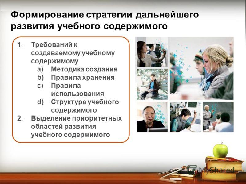 Формирование стратегии дальнейшего развития учебного содержимого 1.Требований к создаваемому учебному содержимому a)Методика создания b)Правила хранения c)Правила использования d)Структура учебного содержимого 2.Выделение приоритетных областей развит