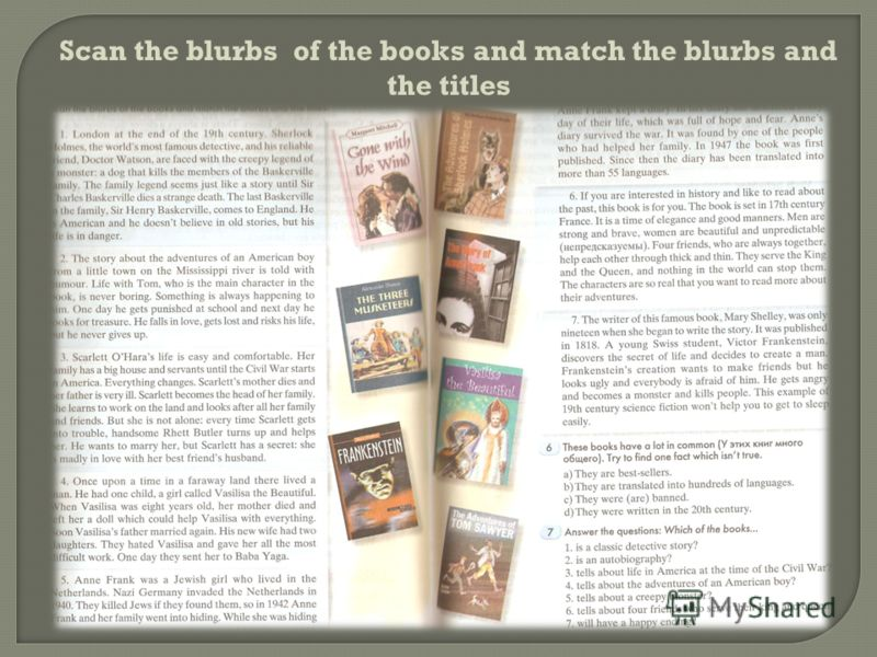 Scan the blurbs of the books and match the blurbs and the titles