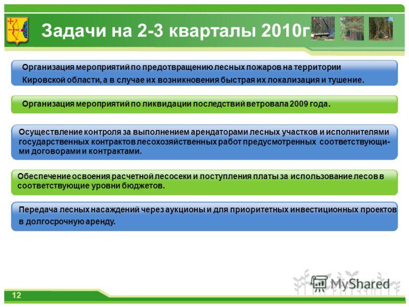 Задачи на 2-3 кварталы 2010г. Обеспечение освоения расчетной лесосеки и поступления платы за использование лесов в соответствующие уровни бюджетов. Организация мероприятий по предотвращению лесных пожаров на территории Кировской области, а в случае и