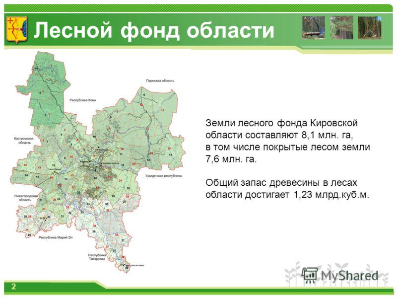 Лесной фонд области 2 Земли лесного фонда Кировской области составляют 8,1 млн. га, в том числе покрытые лесом земли 7,6 млн. га. Общий запас древесины в лесах области достигает 1,23 млрд.куб.м.