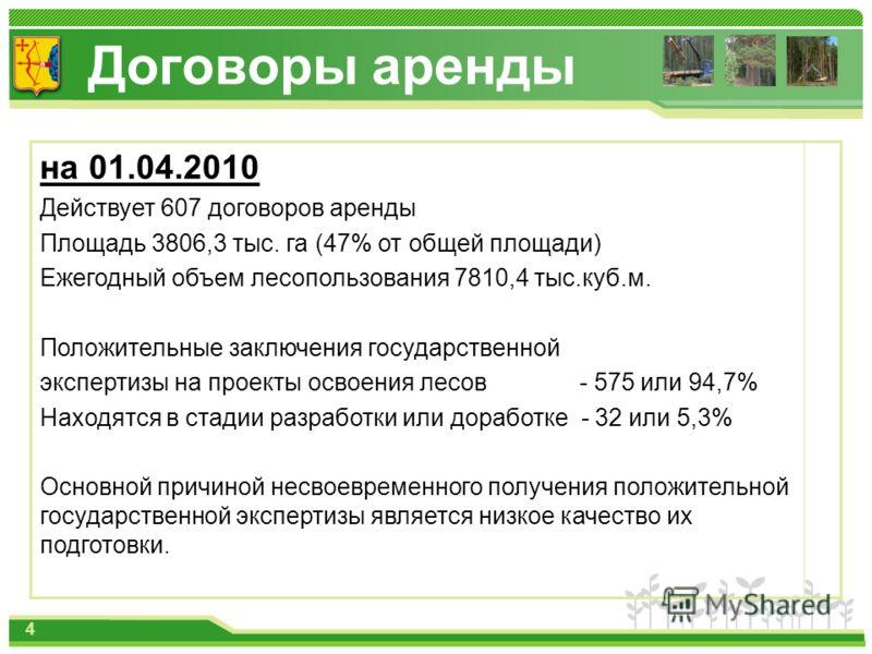 Договоры аренды на 01.04.2010 Действует 607 договоров аренды Площадь 3806,3 тыс. га (47% от общей площади) Ежегодный объем лесопользования 7810,4 тыс.куб.м. Положительные заключения государственной экспертизы на проекты освоения лесов - 575 или 94,7%