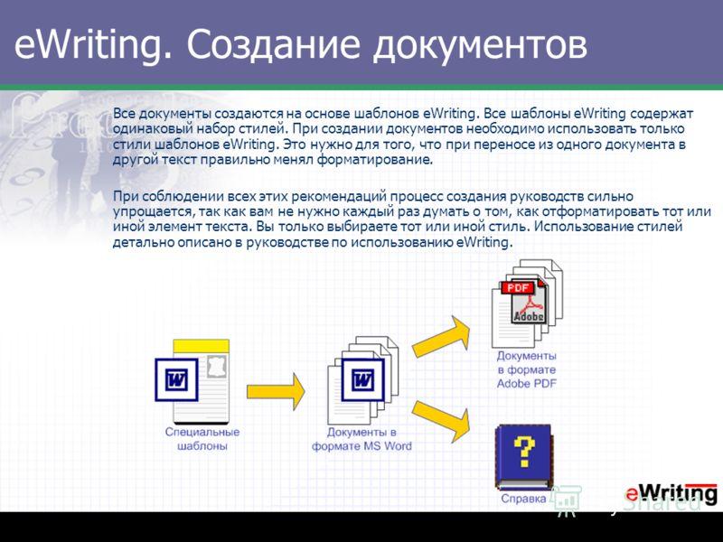 eWriting. Создание документов Все документы создаются на основе шаблонов eWriting. Все шаблоны eWriting содержат одинаковый набор стилей. При создании документов необходимо использовать только стили шаблонов eWriting. Это нужно для того, что при пере