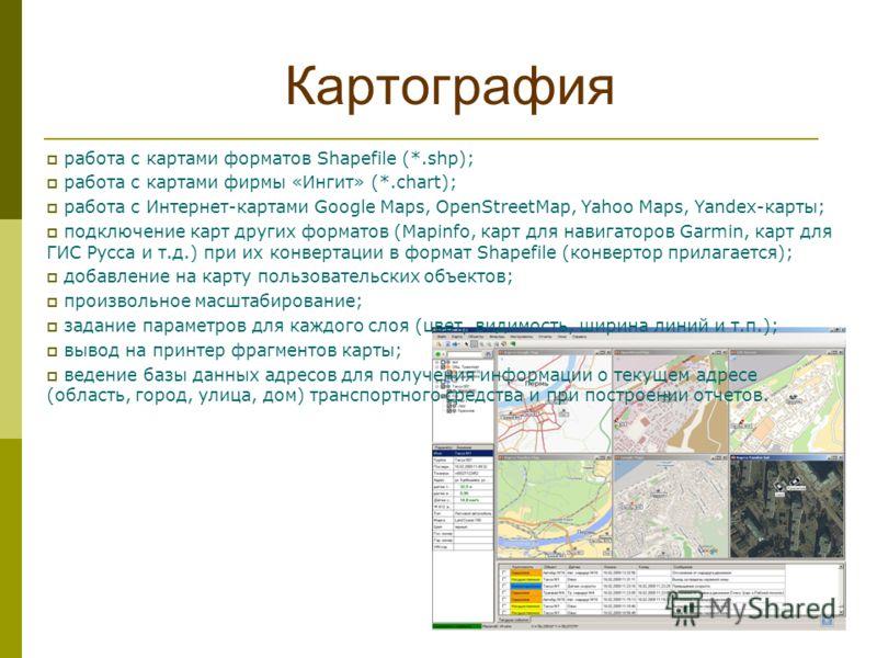 Картография работа с картами форматов Shapefile (*.shp); работа с картами фирмы «Ингит» (*.chart); работа с Интернет-картами Google Maps, OpenStreetMap, Yahoo Maps, Yandex-карты; подключение карт других форматов (Mapinfo, карт для навигаторов Garmin,