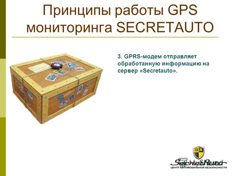 3. GPRS-модем отправляет обработанную информацию на сервер «Secretauto». Принципы работы GPS мониторинга SECRETAUTO