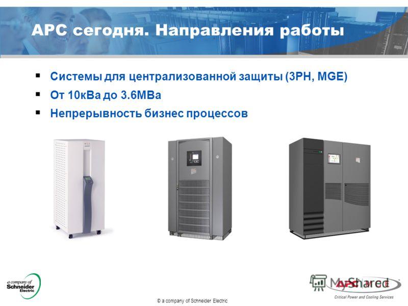 © a company of Schneider Electric APC сегодня. Направления работы Системы для централизованной защиты (3PH, MGE) От 10кВа до 3.6МВа Непрерывность бизнес процессов
