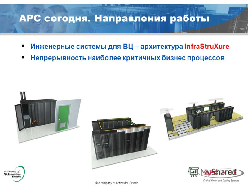 © a company of Schneider Electric APC сегодня. Направления работы Инженерные системы для ВЦ – архитектура InfraStruXure Непрерывность наиболее критичных бизнес процессов
