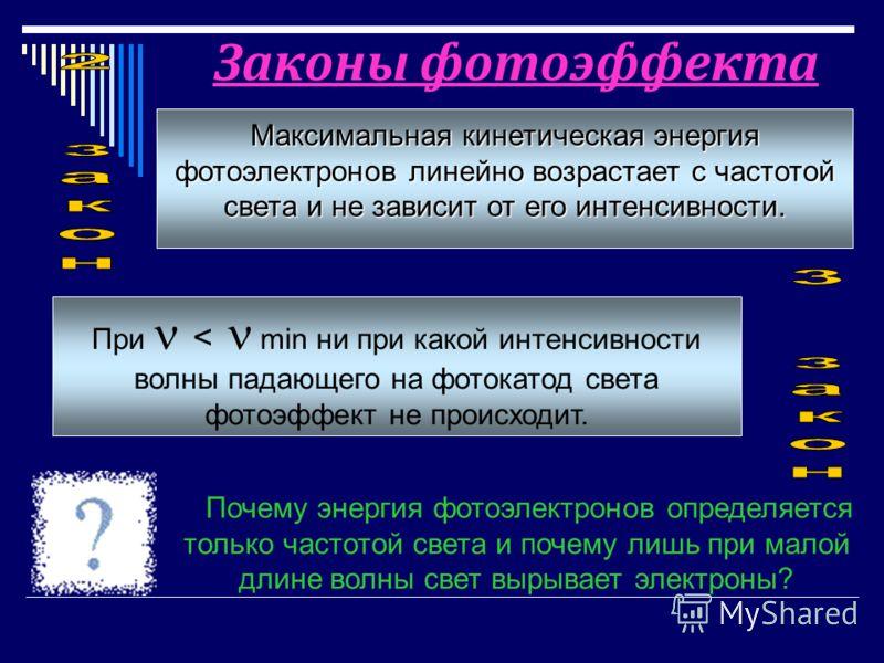 Максимальная кинетическая энергия фотоэлектронов линейно возрастает с частотой света и не зависит от его интенсивности. При < min ни при какой интенсивности волны падающего на фотокатод света фотоэффект не происходит. Законы фотоэффекта Почему энерги