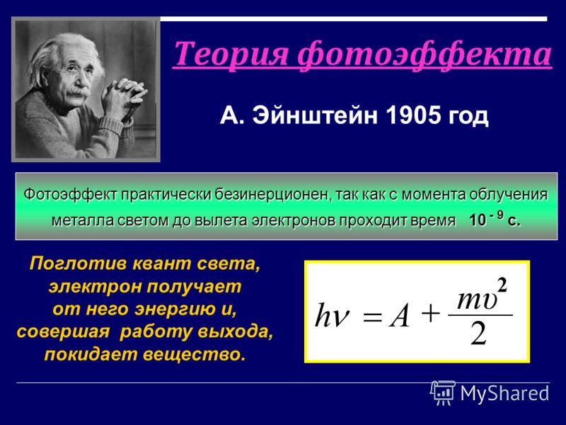 Теория фотоэффекта А. Эйнштейн 1905 год Поглотив квант света, электрон получает от него энергию и, совершая работу выхода, покидает вещество. 2 2 mυmυ Ah Свет имеет прерывистую структуру и поглощается отдельными порциями - квантами Фотоэффект практич