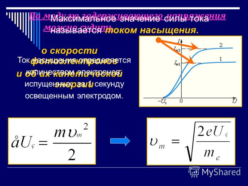 По модулю задерживающего напряжения можно судить о скорости фотоэлектронов и об их кинетической энергии Ток насыщения определяется количеством электронов, испущенных за 1 секунду освещенным электродом. Максимальное значение силы тока называется током
