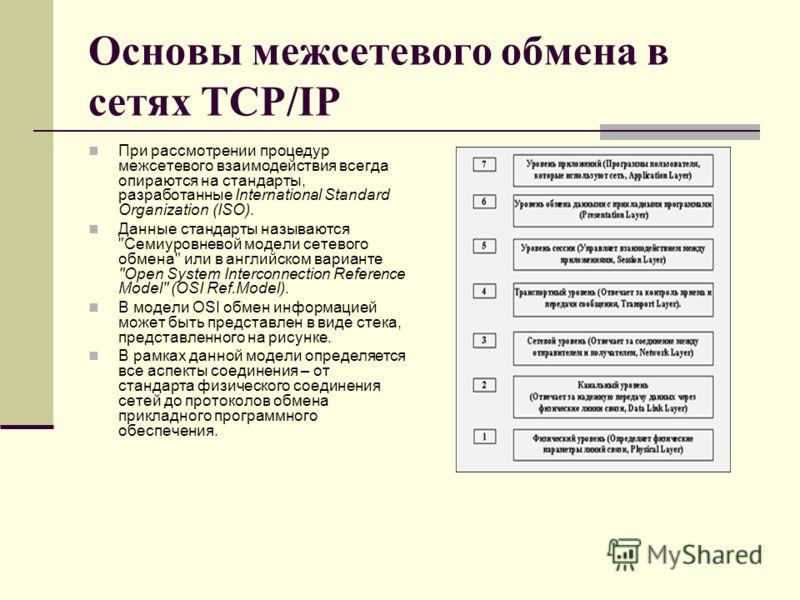 Основы межсетевого обмена в сетях TCP/IP При рассмотрении процедур межсетевого взаимодействия всегда опираются на стандарты, разработанные International Standard Organization (ISO). Данные стандарты называются