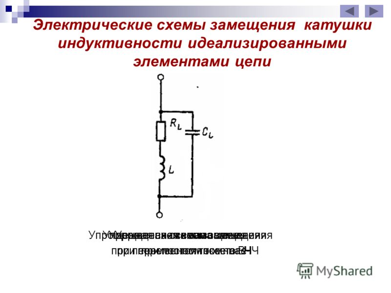Упрощенная схема замещения при постоянном токе Упрощенная схема замещения при переменном токе на НЧ Упрощенная схема замещения при переменном токе на ВЧ Электрические схемы замещения катушки индуктивности идеализированными элементами цепи