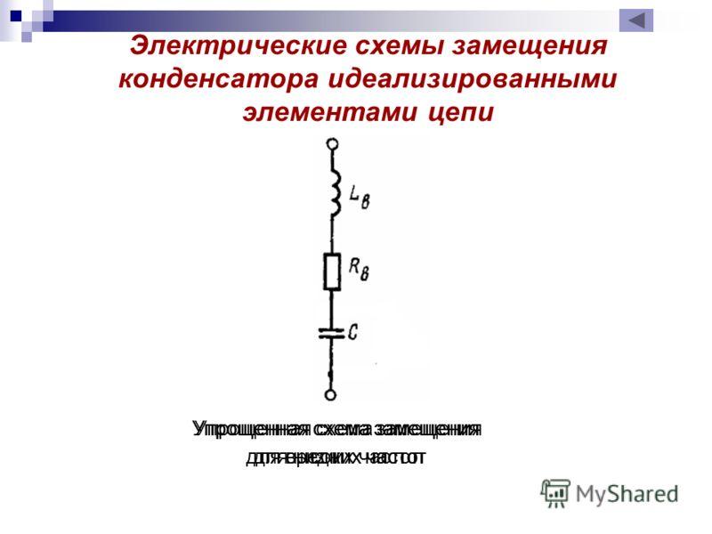 Упрощенная схема замещения для низких частот Упрощенная схема замещения для средних частот Упрощенная схема замещения для высоких частот Электрические схемы замещения конденсатора идеализированными элементами цепи