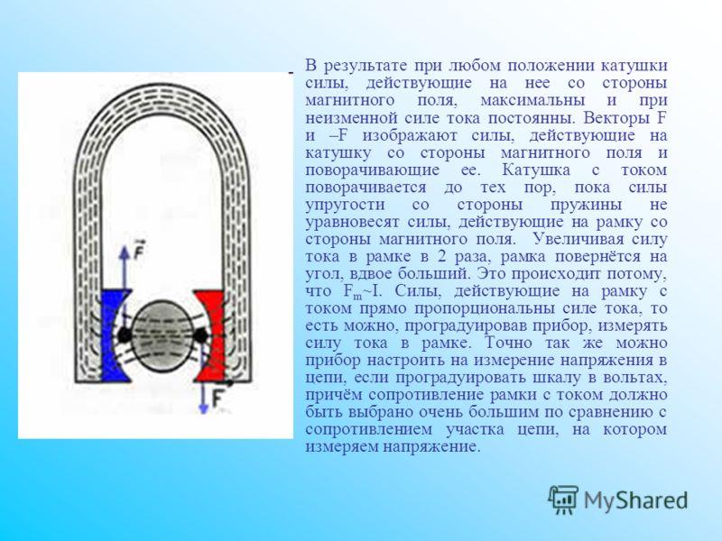 В результате при любом положении катушки силы, действующие на нее со стороны магнитного поля, максимальны и при неизменной силе тока постоянны. Векторы F и –F изображают силы, действующие на катушку со стороны магнитного поля и поворачивающие ее. Кат
